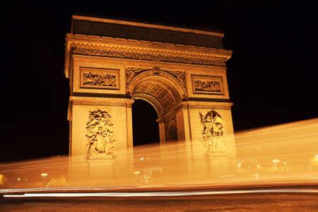 Paris landmark - Arc de Triomphe at night. Long Exposure