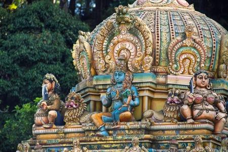 Closeup of Hindu temple in Matale, Sri Lanka.