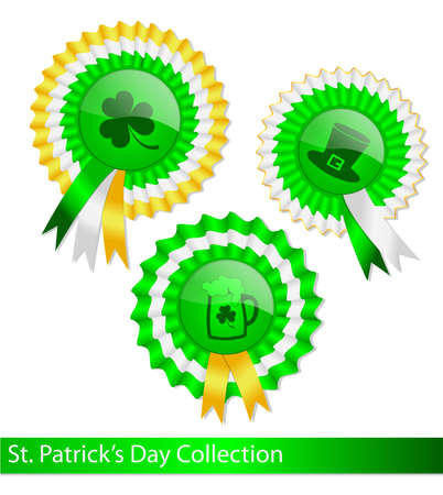 three leaf clover: Collection of fancy ribbon medals for Saint Patrick