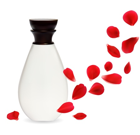 Cosmetics container isolated over white background with rose petals. Natural cosmetics concept.