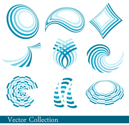 Set of blue abstract logos Vector