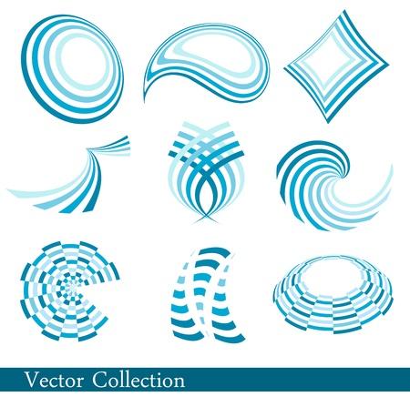 Set of blue abstract logos