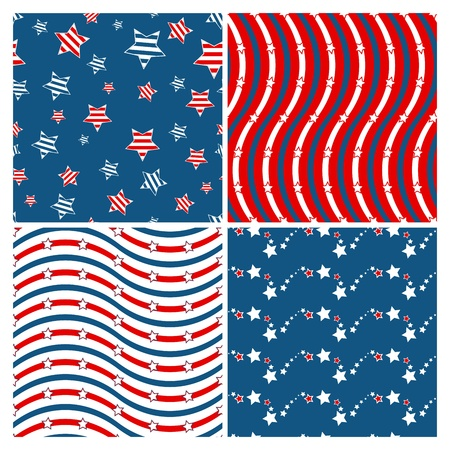 Set of seamless patterns devoted to 4th of July Stock Vector - 12810975