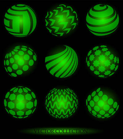 Set of abstract sphere shaped symbols Illustration
