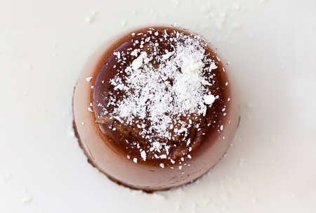 Chocolate panna cotta - top view photo