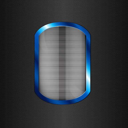 Glass button in blue frame on black texture