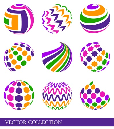 Set of bright multicolored abstract elements Vector