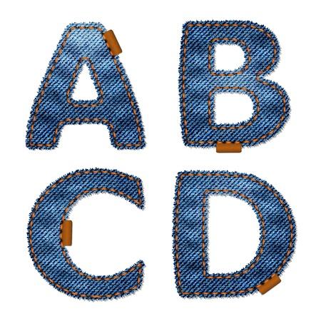 alphabetical letters: Alfabeto de tela jeans. Aislado sobre fondo blanco