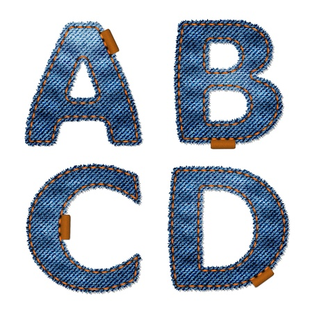 Alphabet made from jeans fabric. Isolated over white background