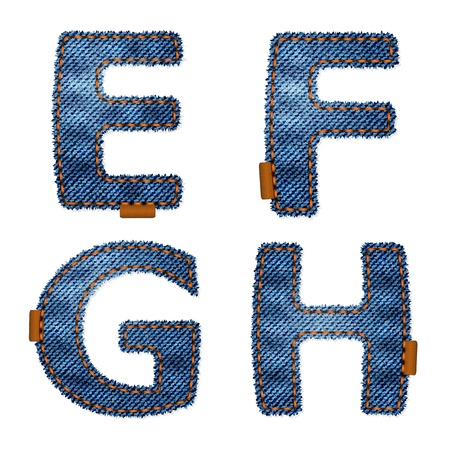 leather stitch: Denim texture alphabet with stiches and leather labels