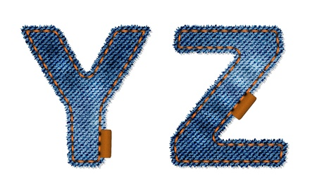 Z and Y letters from denim fabric Vector