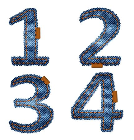 leather stitch: Numbers made from jeans fabric Illustration