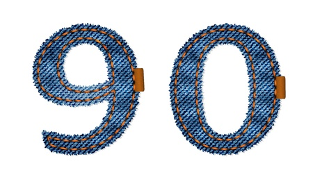leather stitch: Jeans numbers Illustration