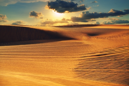 Arabian desert during sunset photo