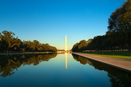 Washington monument in front of reflecting pool photo
