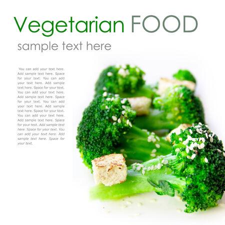 Vegetarian food - broccoli and tofu with sesame dressing