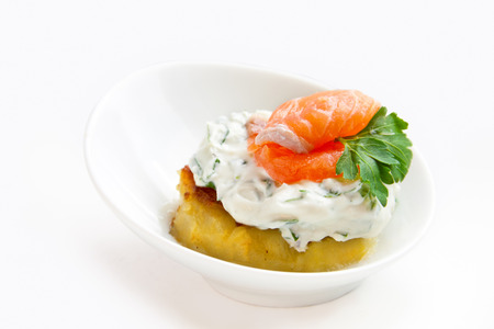 baked potato: Appetizer  baked potato slice with cream cheese and salmon