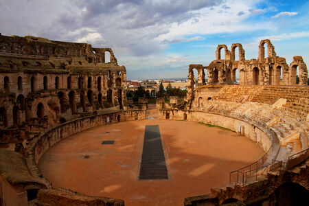 archaeology: Arena of el Djem - the biggest amphiteater in Africa, Tunisia