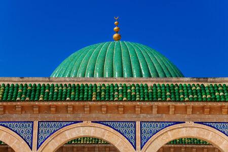 Green Dome of Bourguiba's Mausoleum in Monastir, Tunisia Stock Photo