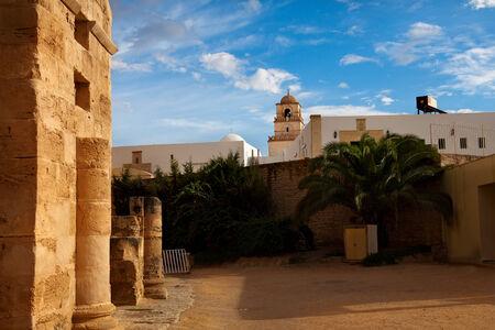 View of El Djem town, next to amphitheatre entrance Stock Photo