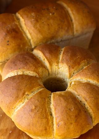 Freshly baked homemade bread loafs