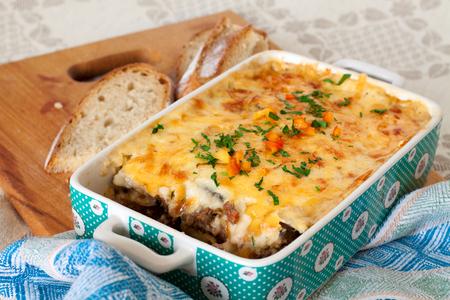 casserole: Eggplant moussaka - greek traditional cuisine Stock Photo
