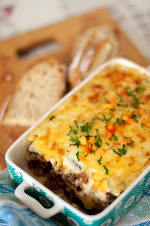 Moussaka - traditional greek dish with eggplant and minced meet