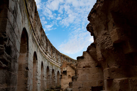 Ruins of El Djem Colosseum, Tunisia Reklamní fotografie