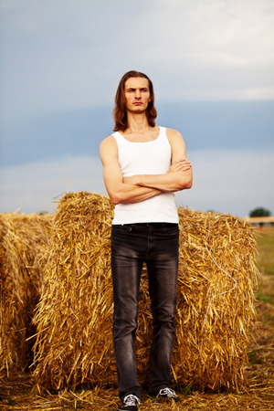 Young man in the field photo
