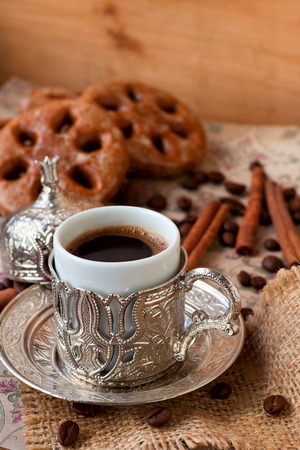 Cup of turkish coffee with spice-cakes and cinnamon Reklamní fotografie