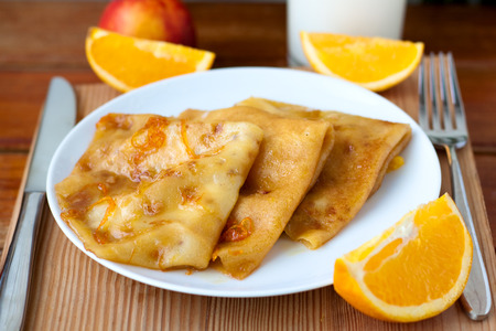 Dessert - crepes Suzette with orange syrup