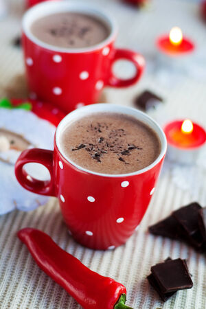 Cup of cocoa with Christmas decorations