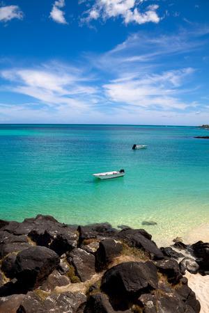 borabora: Beautiful ocean coast of Mauritius Stock Photo