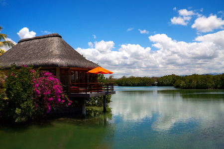mauritius: Water house on the lake in Mauritius