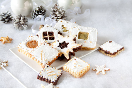 Beautifull Christmas cookies decorated with white frosting