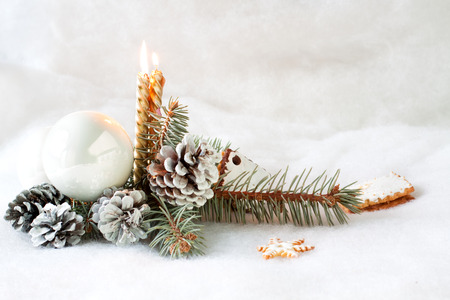 Christmas still life with golden candles