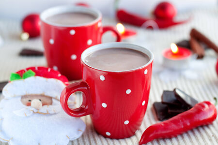 christmas atmosphere: A cup of cocoa in a red cup - Christmas atmosphere