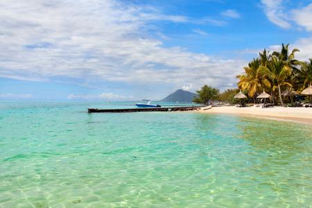 borabora: Turquoise water of Indian ocean on Mauritius beach