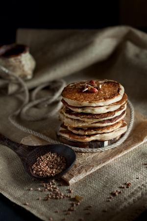 groat: Pile of buckwheat pancakes old fashion style