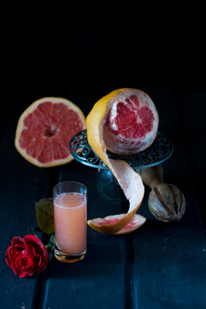 Still life photography - grapefruit juice