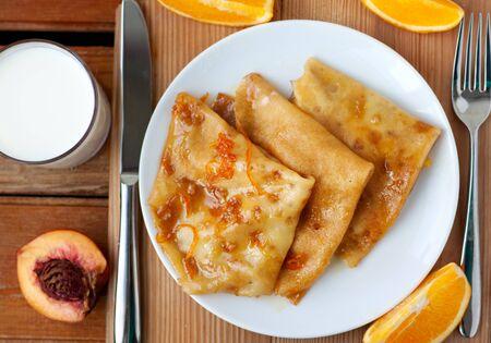 Crepe suzette - french cuisine breafast Reklamní fotografie