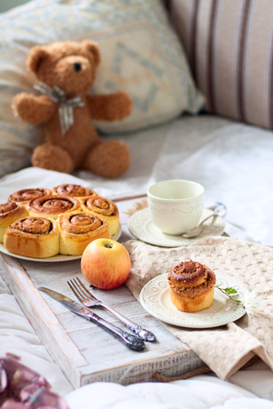 Breakfast idea - buns with nuts and cinnamon
