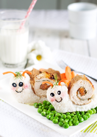 baby rice: Snails food art