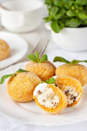 Chech cuisine dish - pumpkin dumpling filled with cottage cheese Reklamní fotografie