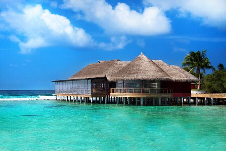 Water villa on Maldives island. Indian ocean resort. Reklamní fotografie