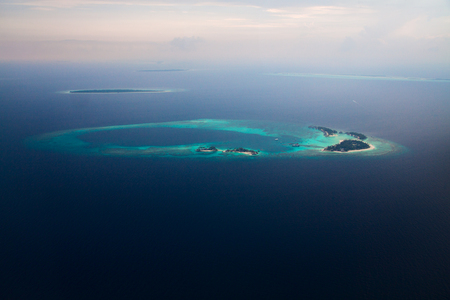 Aerial view of Maldives Islands in Indian ocean