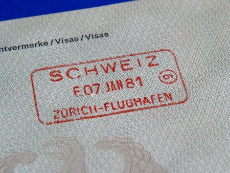 german swiss: A passport-stamp of Switzerland Stock Photo