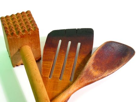 lasting: Old, wooden pan jack, spoon and hammer (close-up) Stock Photo