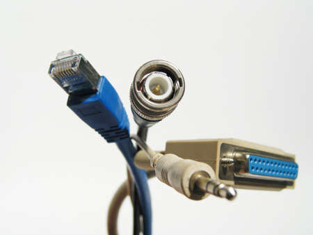 A cat5, coaxial, paralell and micro connection-cable photo