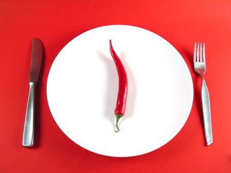healthful: Grandes de chile en un plato (muy bien para hacer un reloj!) Foto de archivo